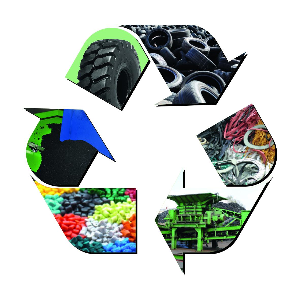 Darstellung eines Recyclingkreislaufs von Reifen