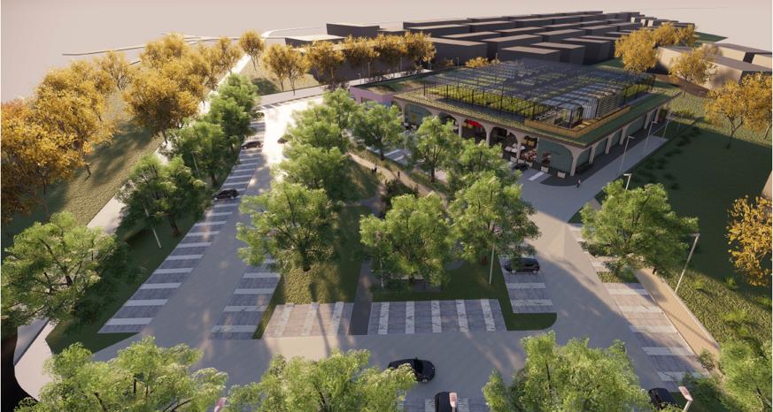 Green Building-Konzept, Supermarkt, Parkplatz mit Bäumen